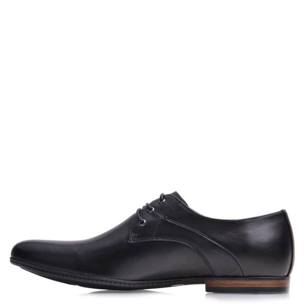 Туфли Prego мужские кожаные черного цвета сокруглым носком