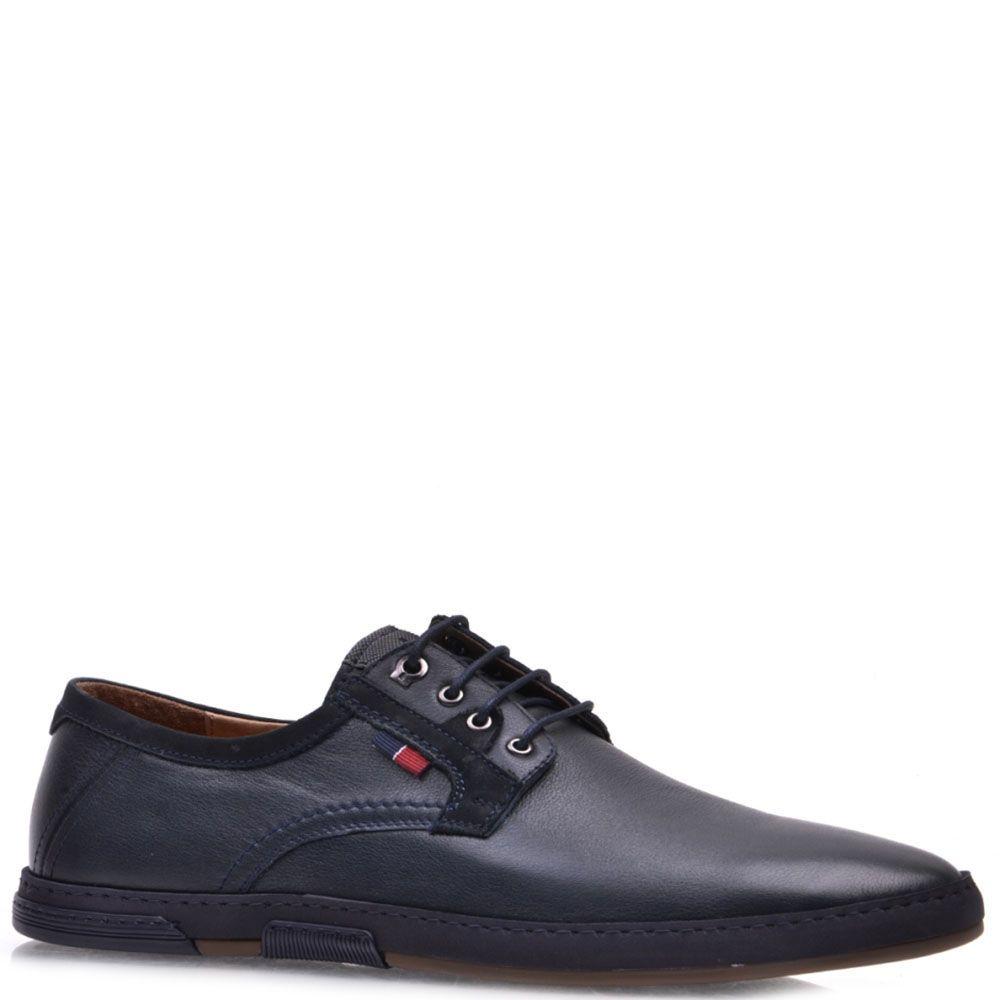 Туфли Prego из кожи синего цвета со шнурками