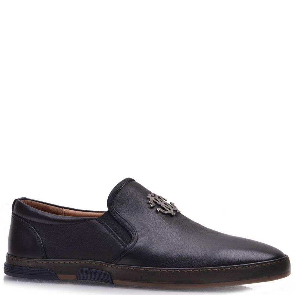 Туфли Prego Prego из натуральной кожи черного цвета с резинками-вставками