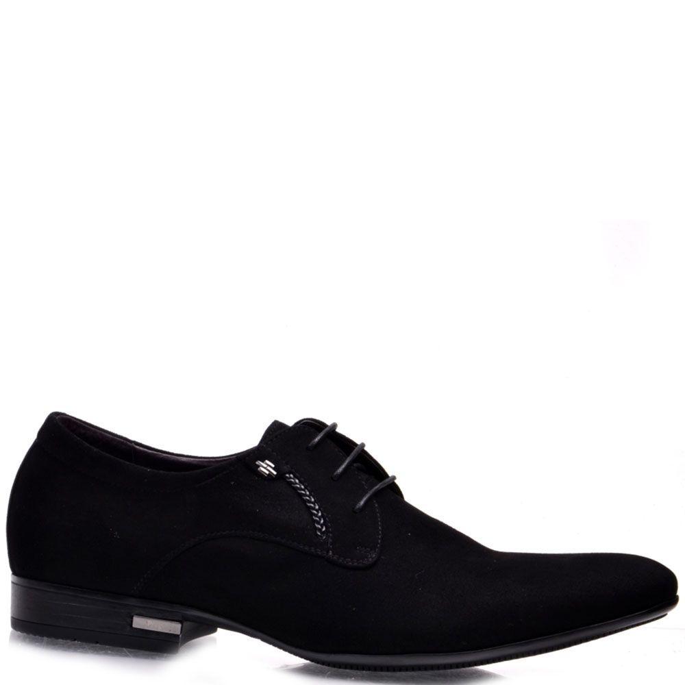 Туфли Prego Prego из натуральной замши черного цвета на шнуровке
