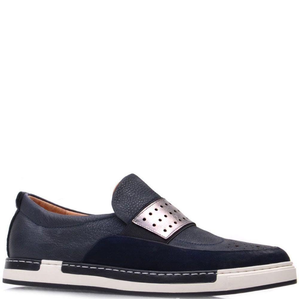 Кожаные туфли Prego синего цвета с белой строчкой вдоль подошвы