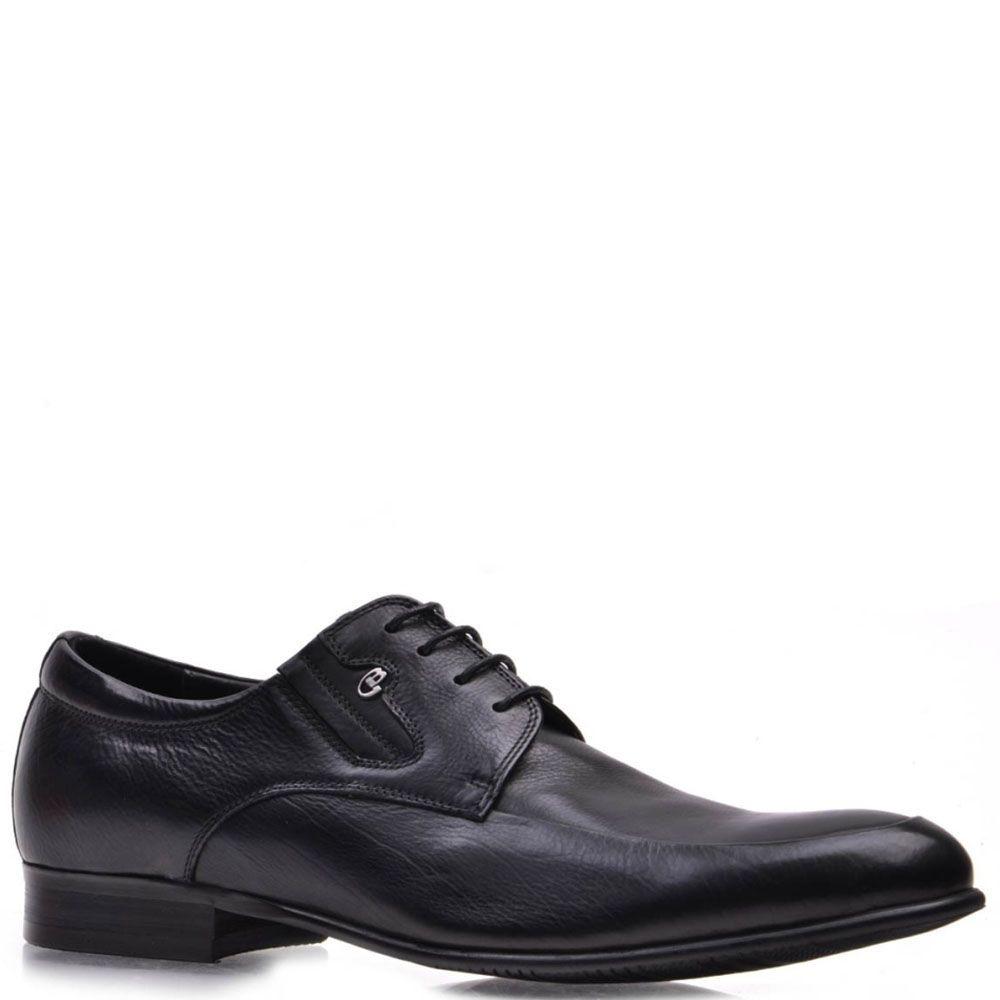 Туфли Prego из натуральной черной кожи на шнуровке