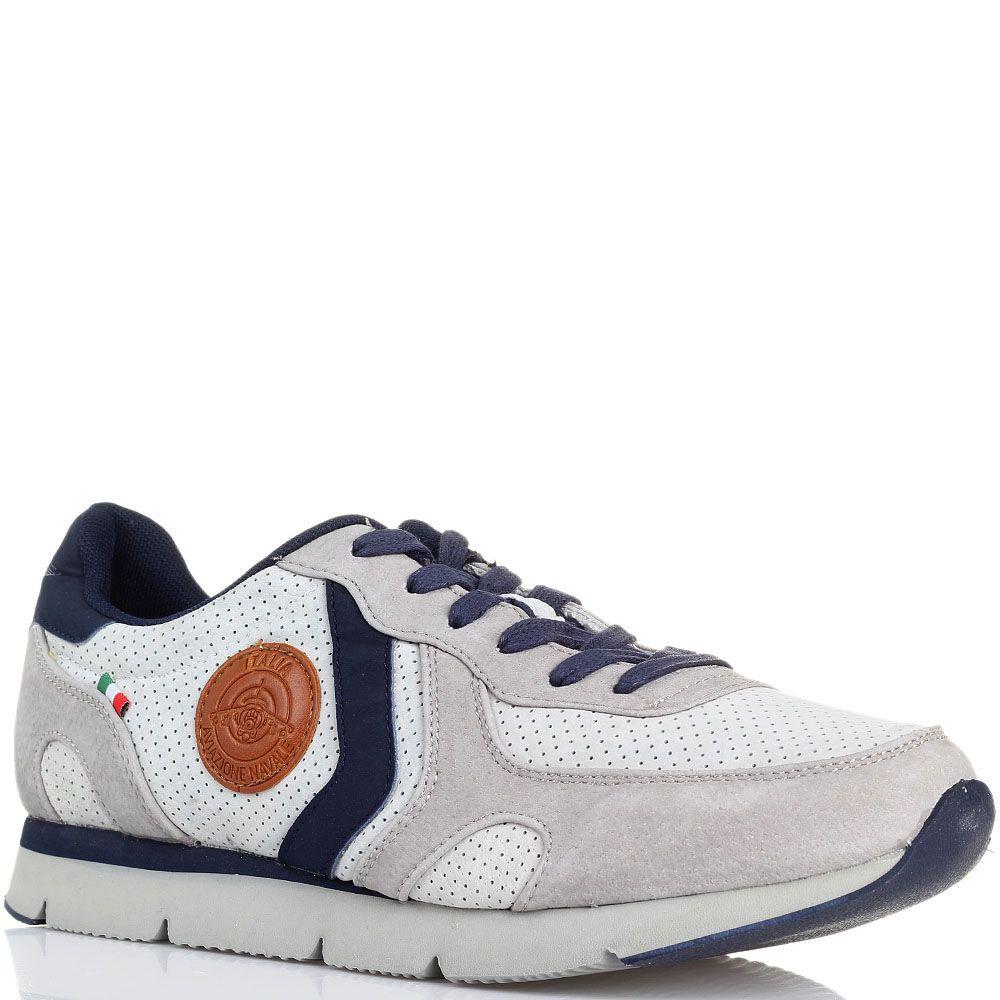 Замшевые кроссовки белого цвета с синими вставками Aviazione Navale