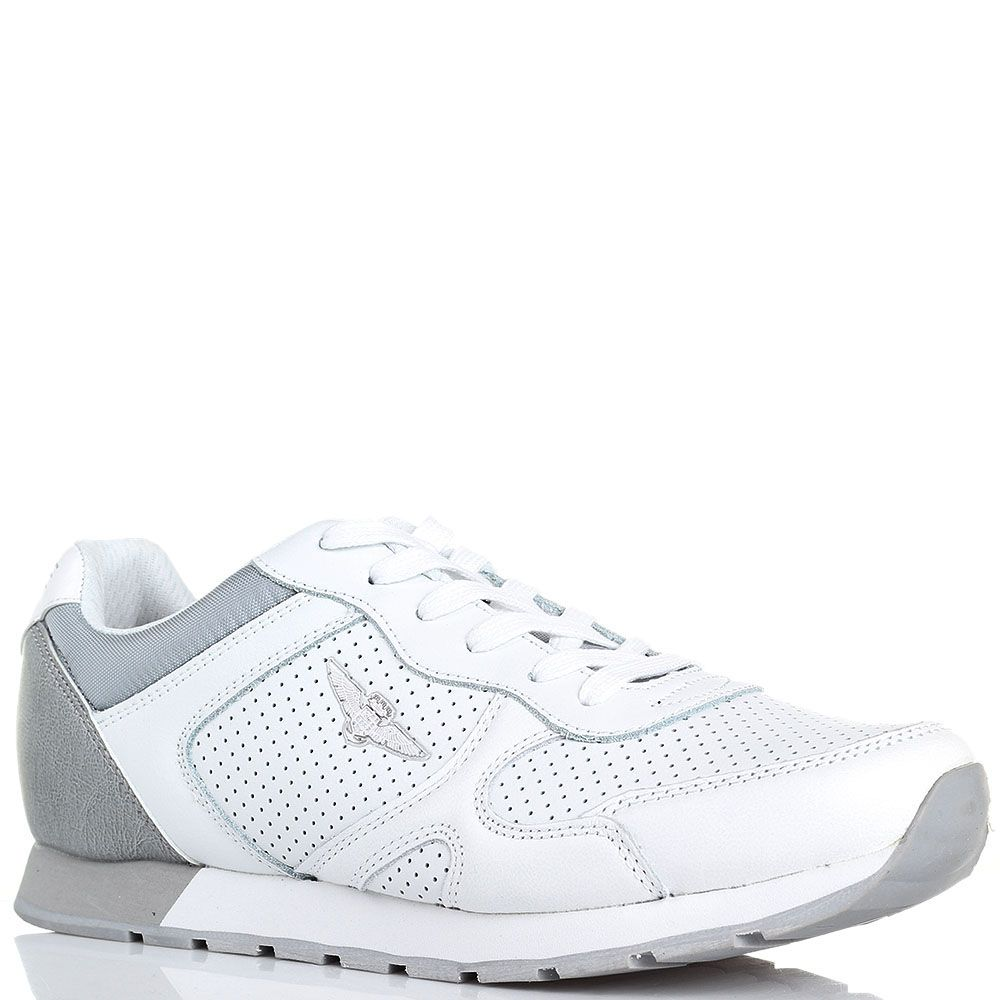 Белые кожаные кроссовки с перфорацией Aviazione Navale