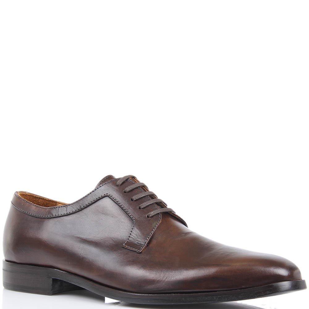 Туфли-дерби Borsalino коричневого цвета из гладкой кожи