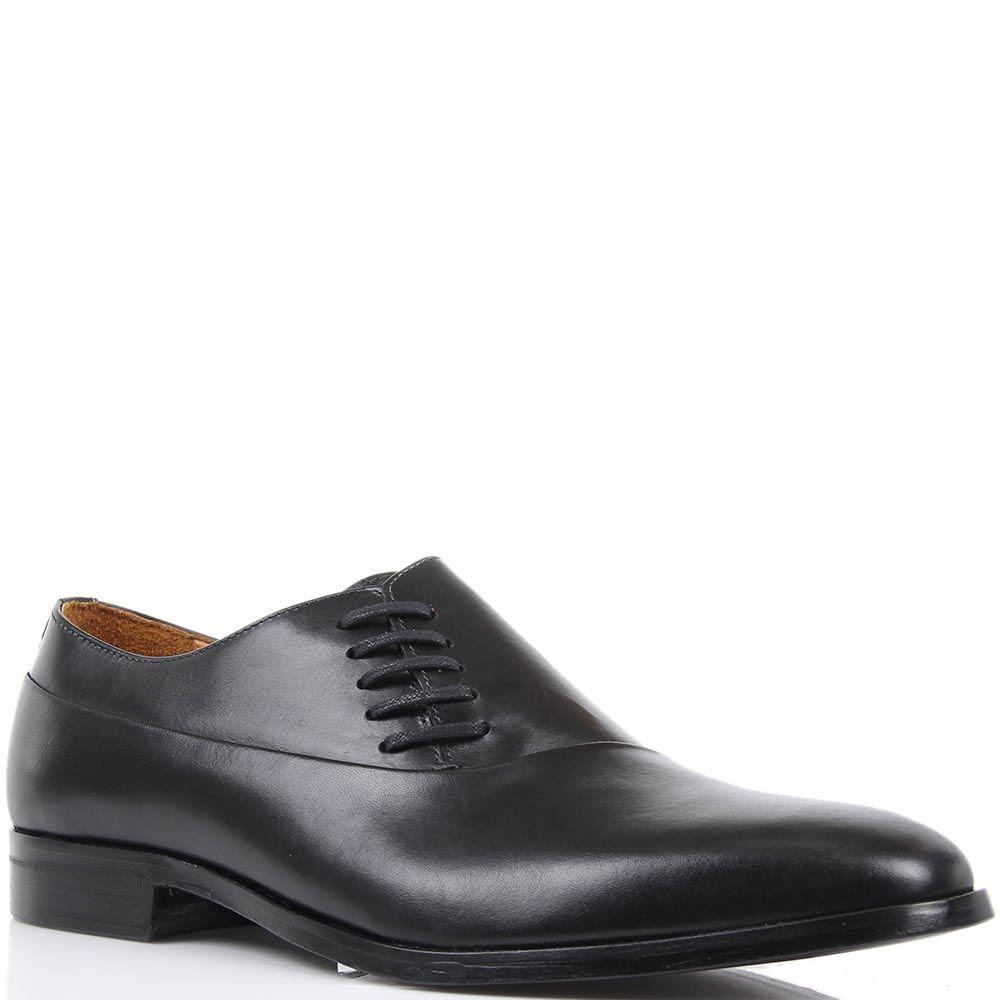 Туфли Borsalino черного цвета из гладкой кожи и с боковой шнуровкой