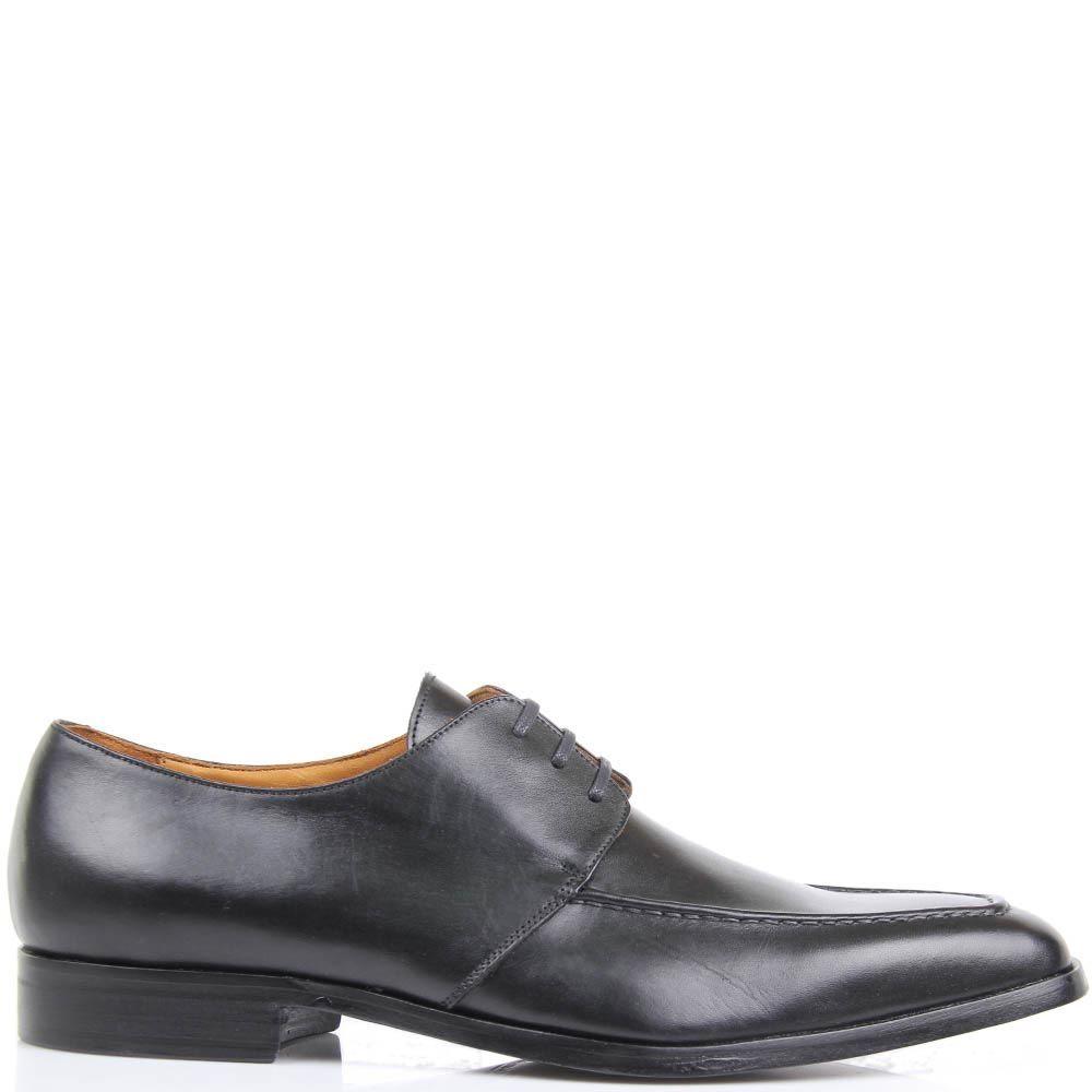 Туфли Borsalino черного цвета из гладкой кожи с наружным швом вдоль носка