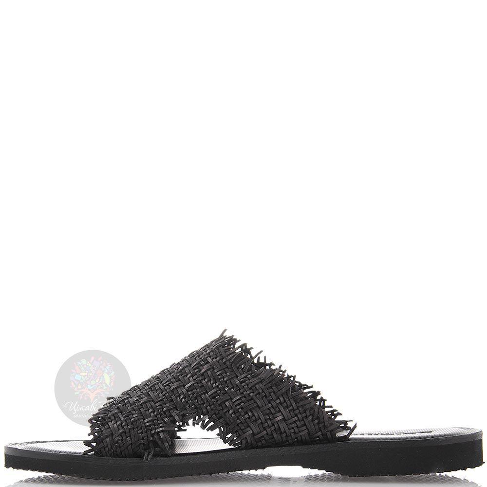 Кожаные сланцы Baldinini черного цвета с мелким плетением