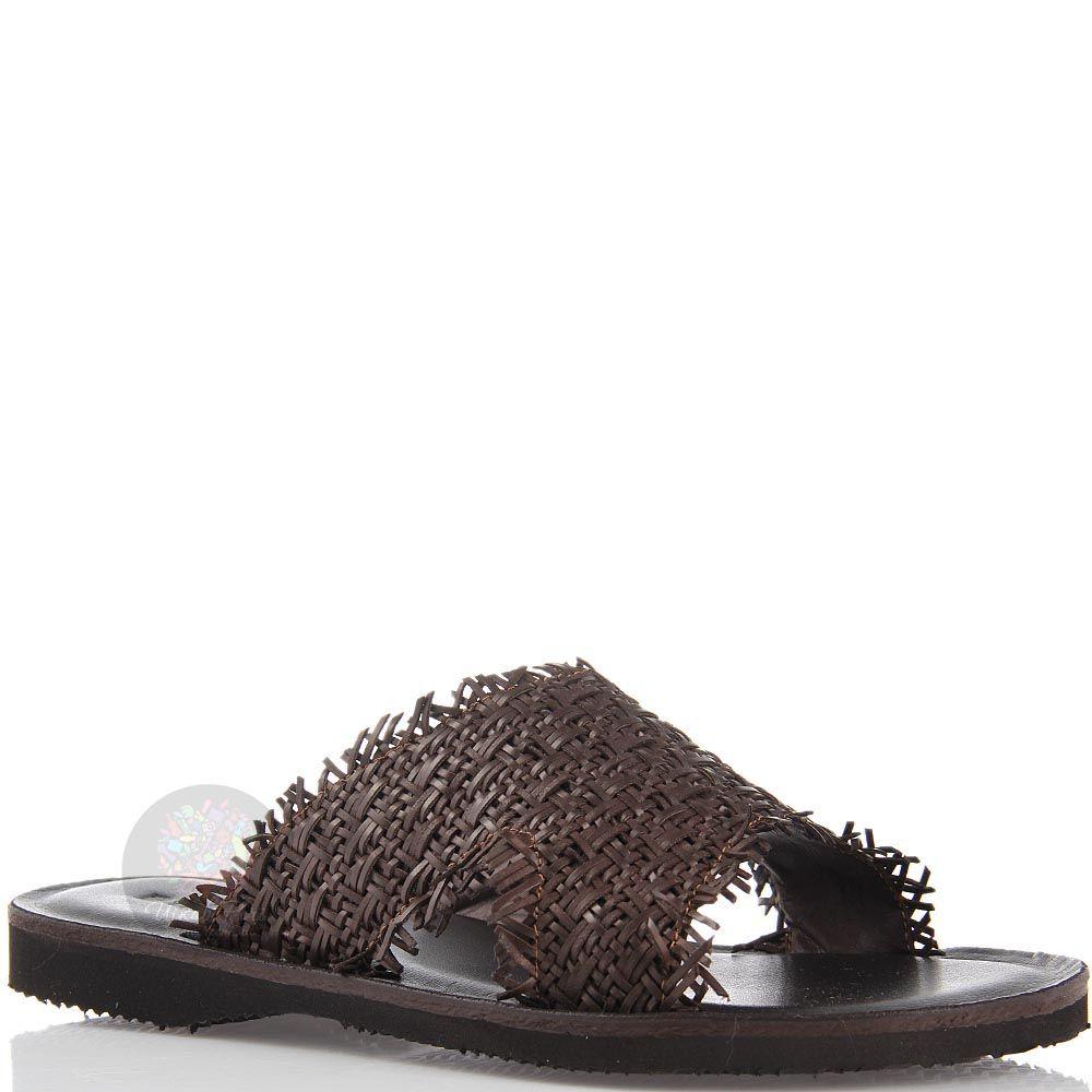 Сандалии-сланцы Baldinini коричневые из переплетения тонких кожаных шнурков