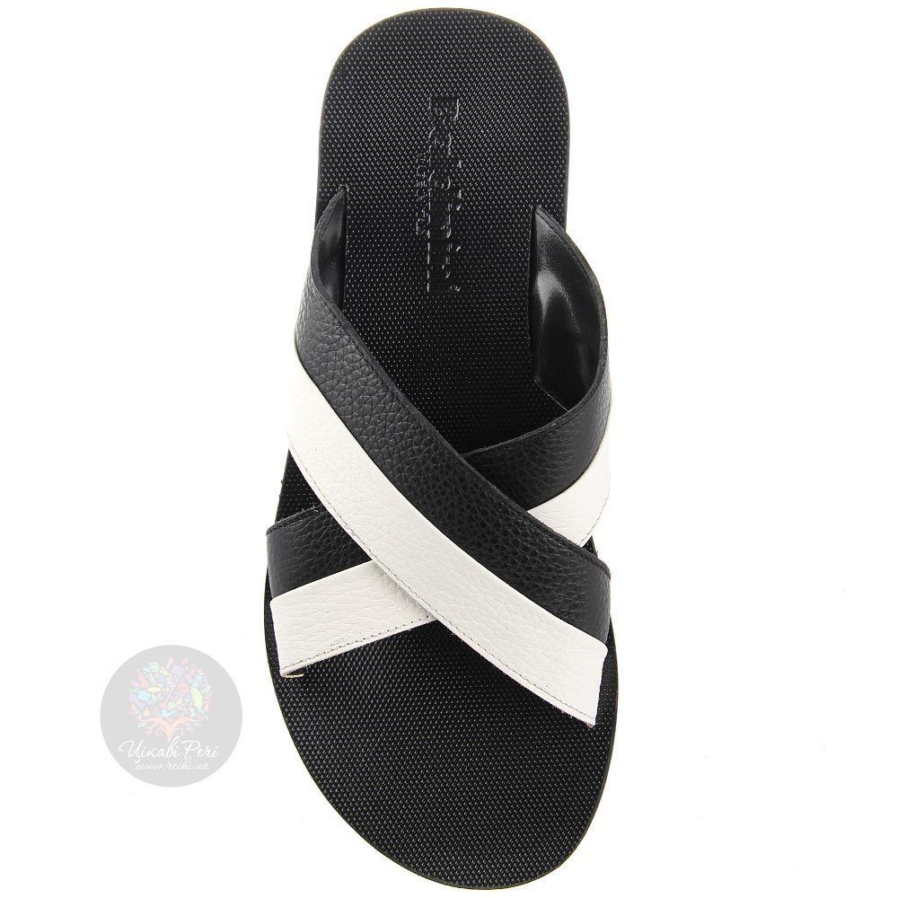 Мужские сандалии-сланцы Baldinini черно-белые из зернистой кожи