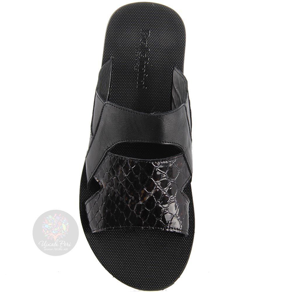 Сандалии-сланцы Baldinini черного цвета со вставками из лаковой кожи