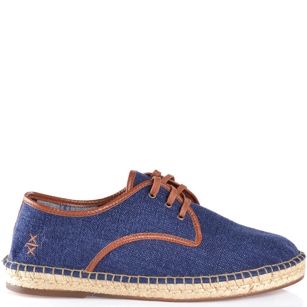 Туфли-эспадрильи Escadrille на шнуровке холщевые темно-синие с коричневой кожаной отделкой