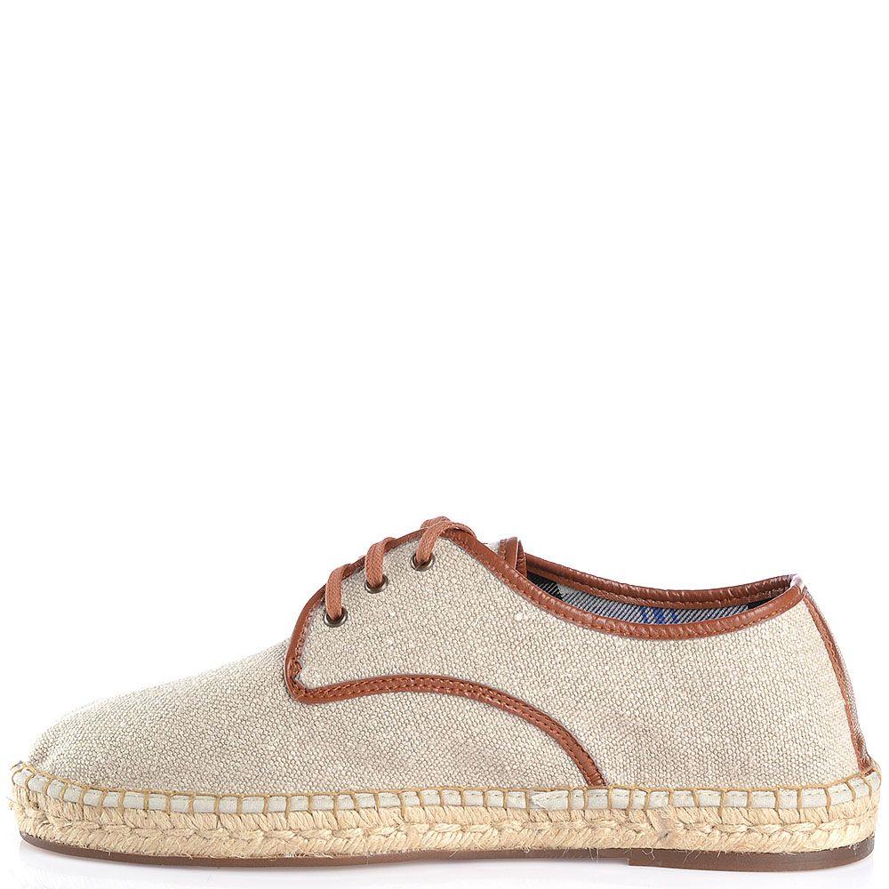 Туфли-эспадрильи Escadrille на шнуровке светлые холщевые с коричневой кожаной отделкой