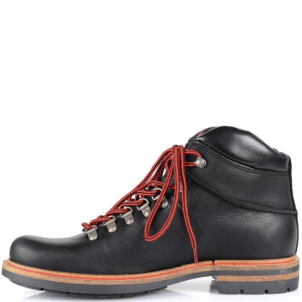Кожаные черные ботинки Cafe Noir с ярко-красными шнурками на протекторной подошве