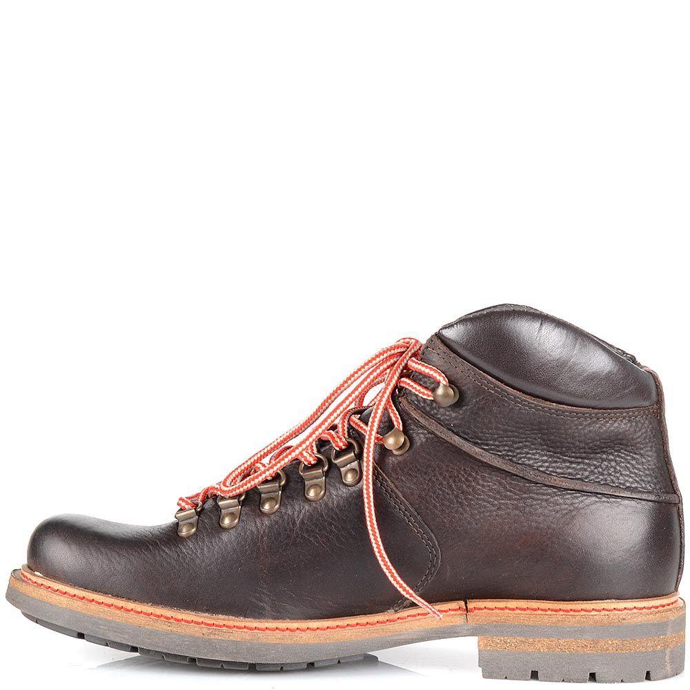 Кожаные ботинки Cafe Noir темно-коричневого цвета на протекторной подошве