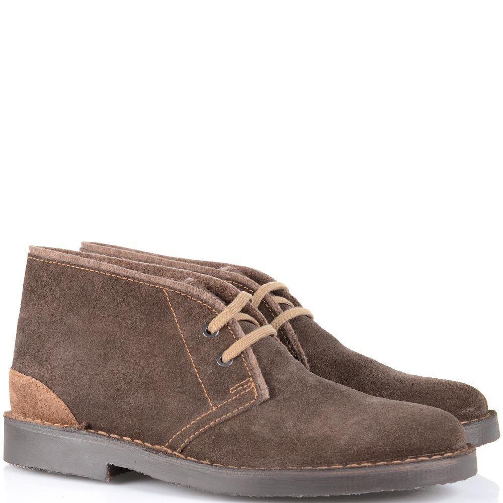 Замшевые ботинки Cafe Noir коричневого цвета на шнуровке
