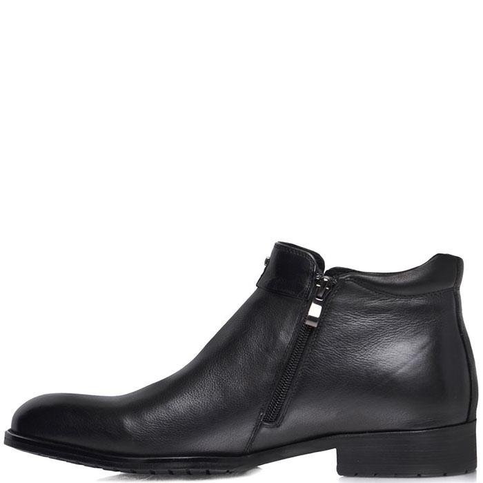 Мужские ботинки Prego из натуральной кожи черного цвета на молнии
