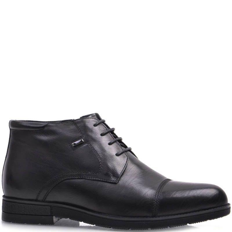 Ботинки Prego зимние кожаные с мехом черного цвета на шнуровке и тонкой металлической вставкой