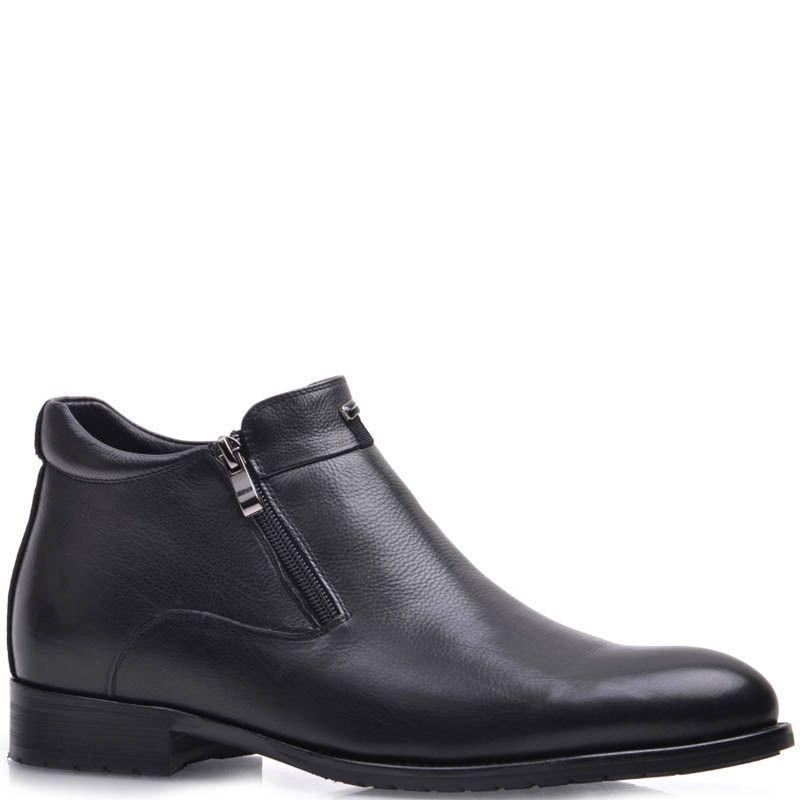 Ботинки Prego зимние кожаные черного цвета с боковыми молниями