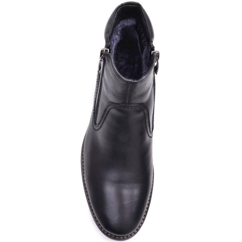 Ботинки Prego зимние черного цвета высокие кожаные с двумя молниями