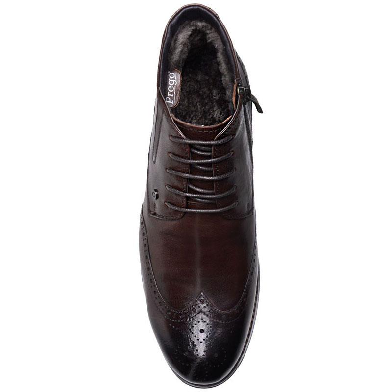 Ботинки-броги Prego из  натуральной кожи коричневого цвета