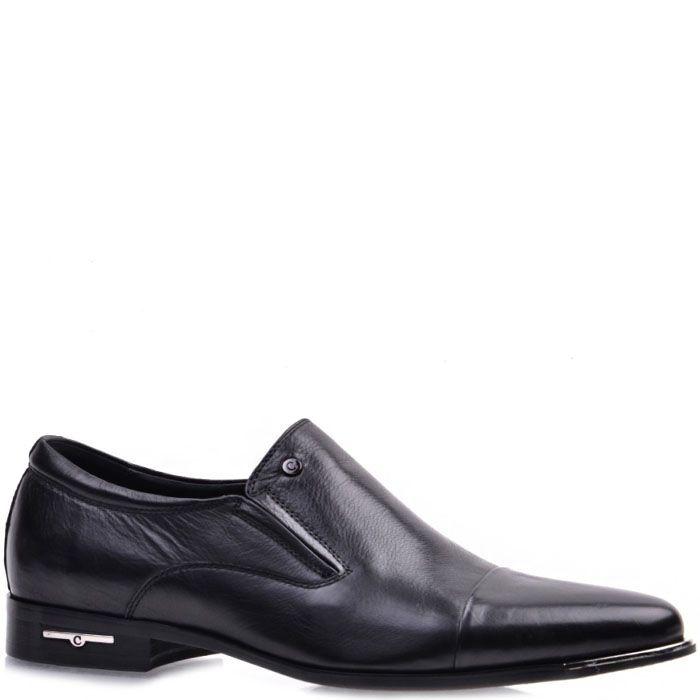 Мужские туфли Prego из натуральной кожи черного цвета