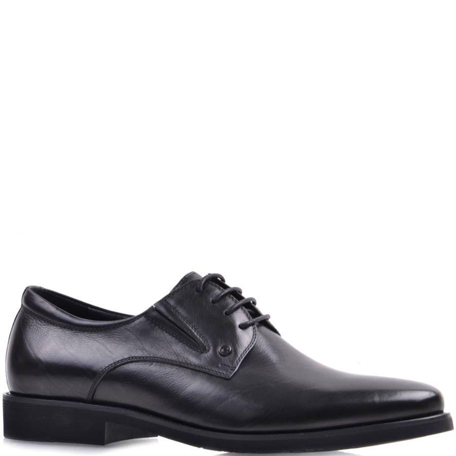 Туфли Prego черного цвета из гладкой натуральной кожи на шнуровке