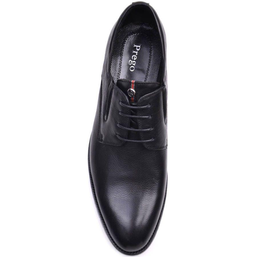 Туфли Prego черного цвета кожаные с полосатой вставкой на язычке