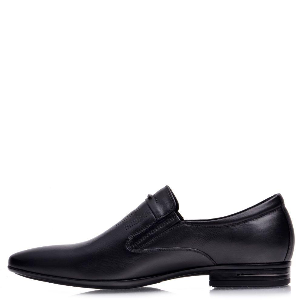Мужские туфли Prego из натуральной кожи черного цвета с мелкой перфорацией