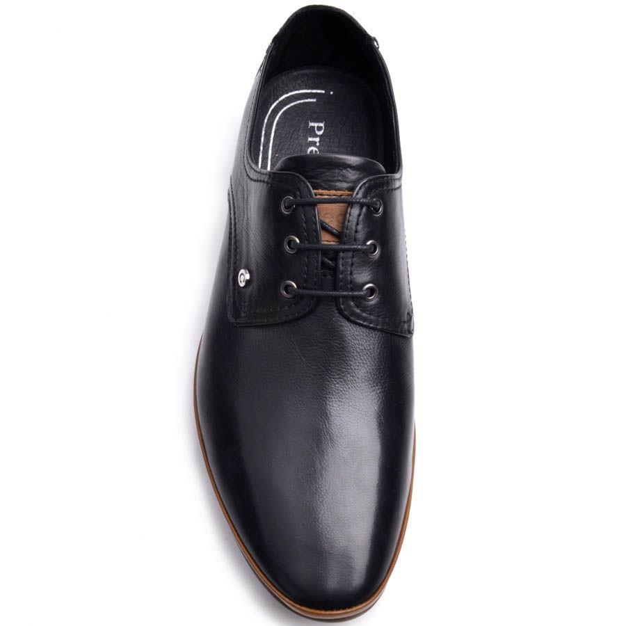 Туфли Prego мужские кожаные черного цвета с коричневой вставкой вдоль подошвы