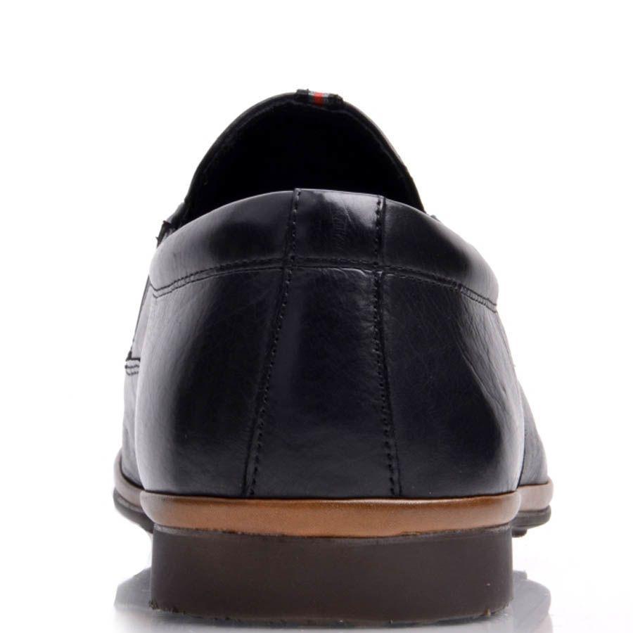 Лоферы Prego мужские кожаные черного цвета с коричневой вставкой вдоль подошвы