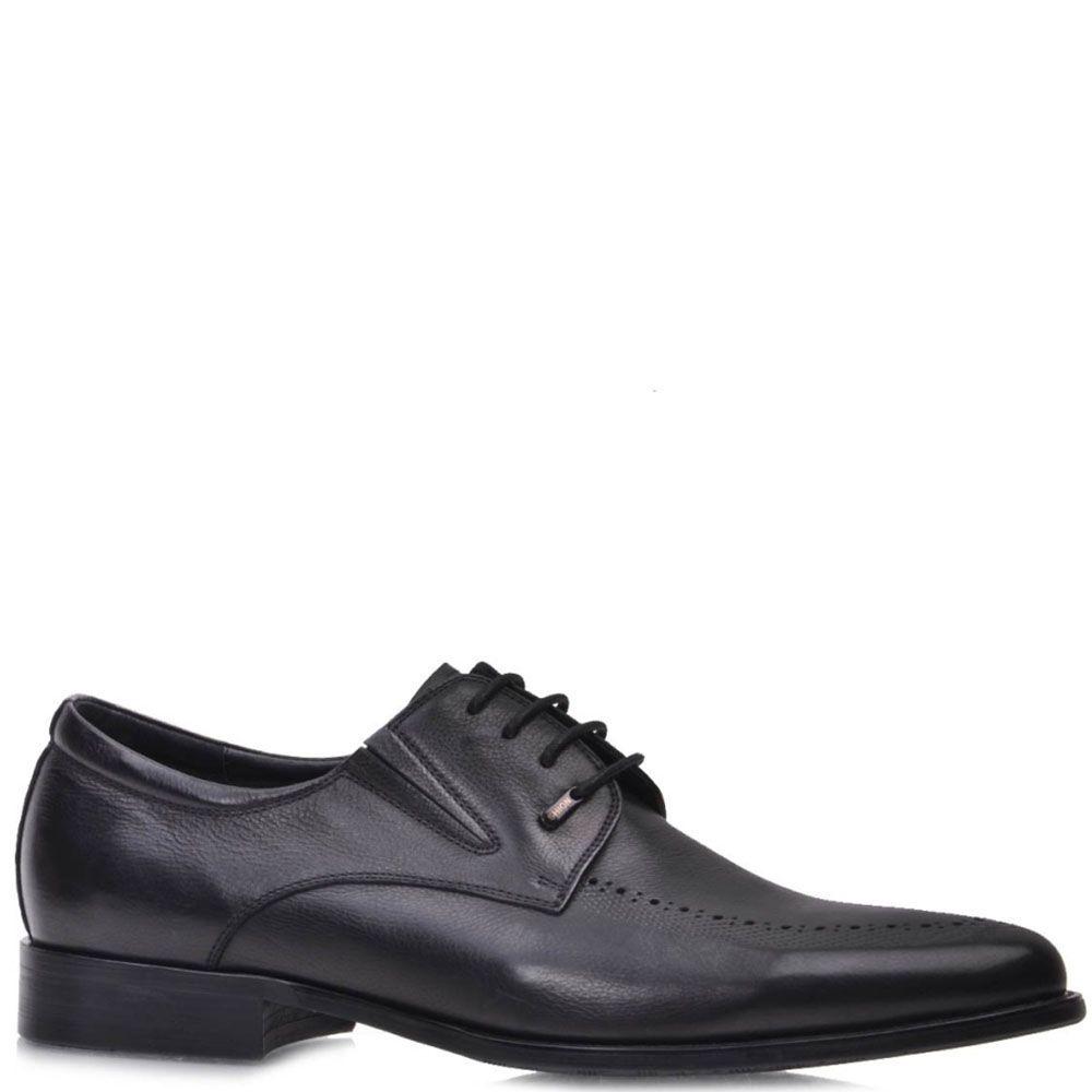 Туфли Prego черные из натуральной кожи на шнуровке