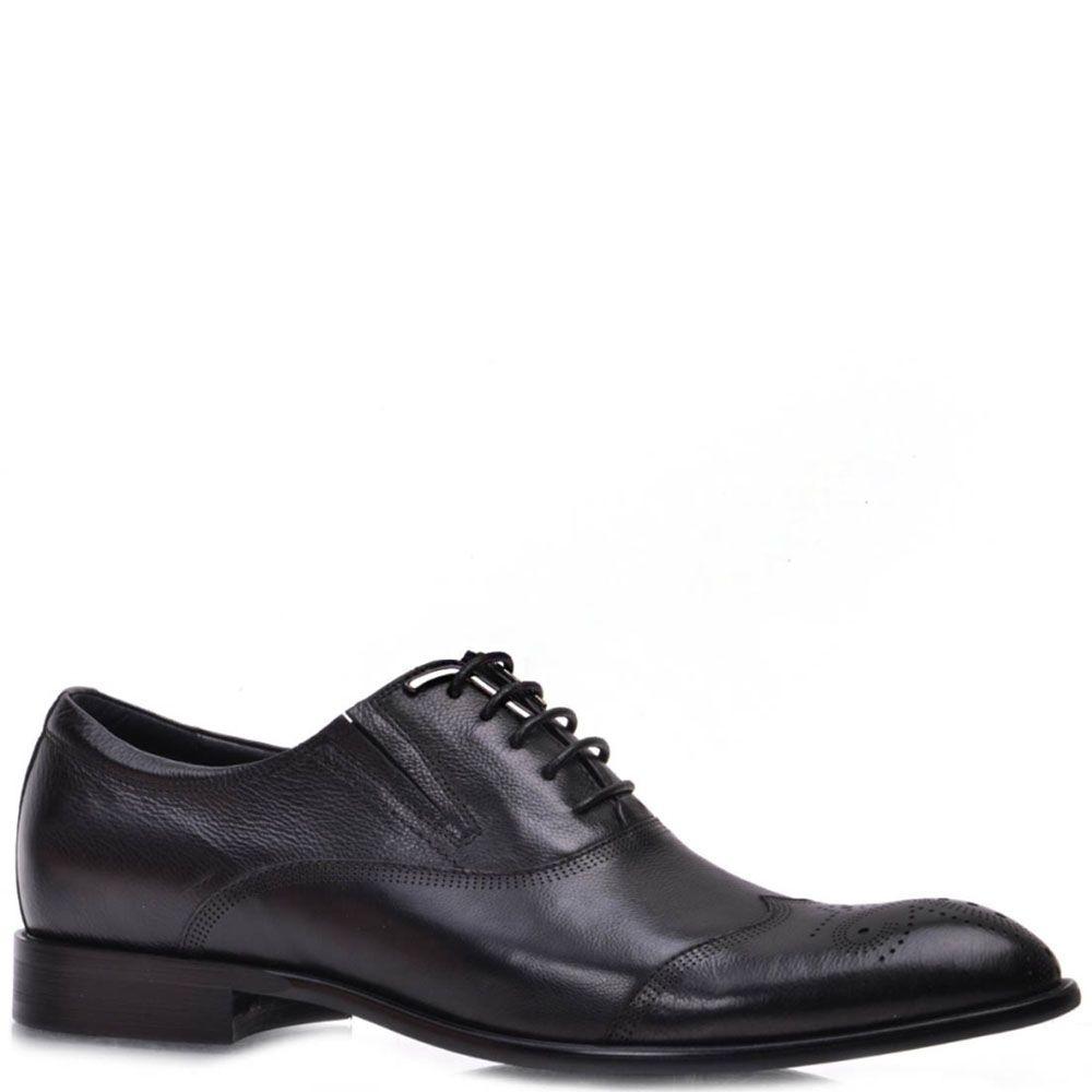 Туфли Prego из натуральной кожи черного цвета с узорчатой перфорацией
