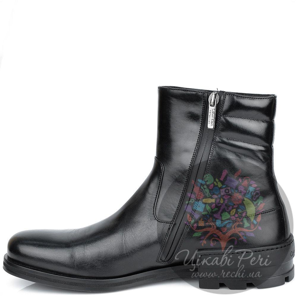 Ботинки Calvin Klein высокие кожаные черные на интересном каблуке
