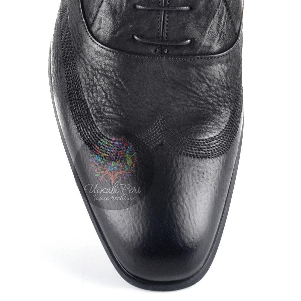 Оксфорды Roberto Cavalli кожаные мягкие черные с красивой лазерной обработкой и декоративными строчками