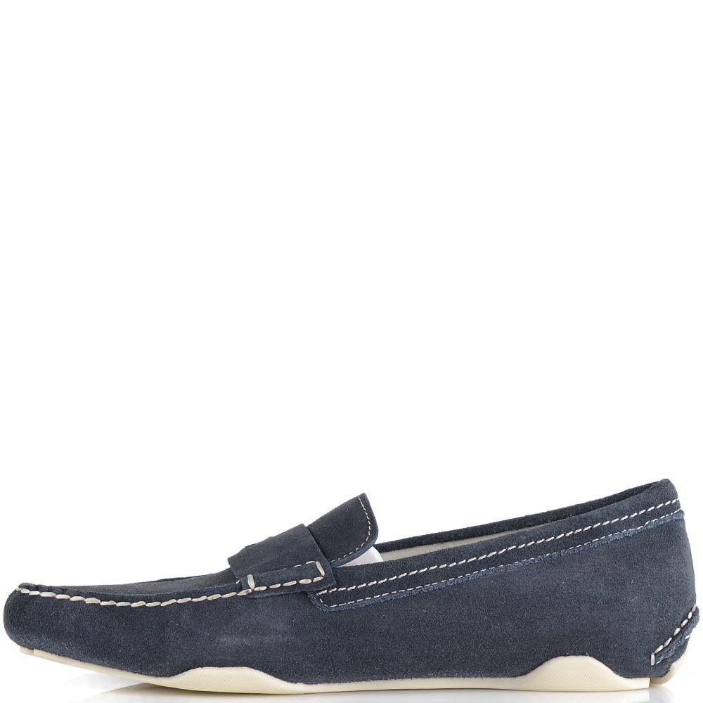 Туфли-мокасины Calvin Klein из замши темно-синего цвета с белой отделочной строчкой
