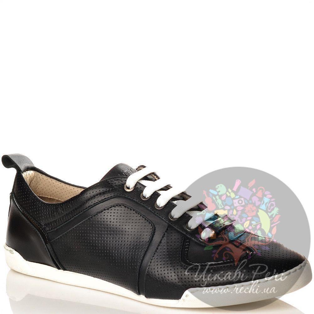 Кеды Calvin Klein Collection на белой подошве черные кожаные перфорированные на шнуровке