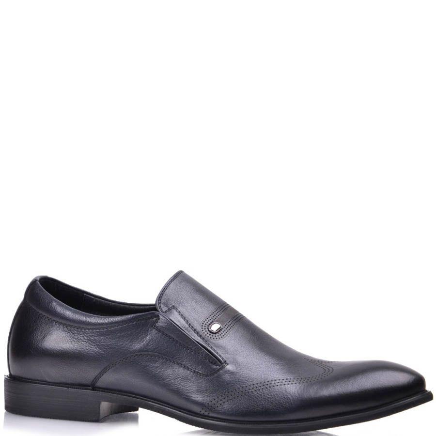 Туфли Grado мужские темно-синего цвета с вышивкой на носке