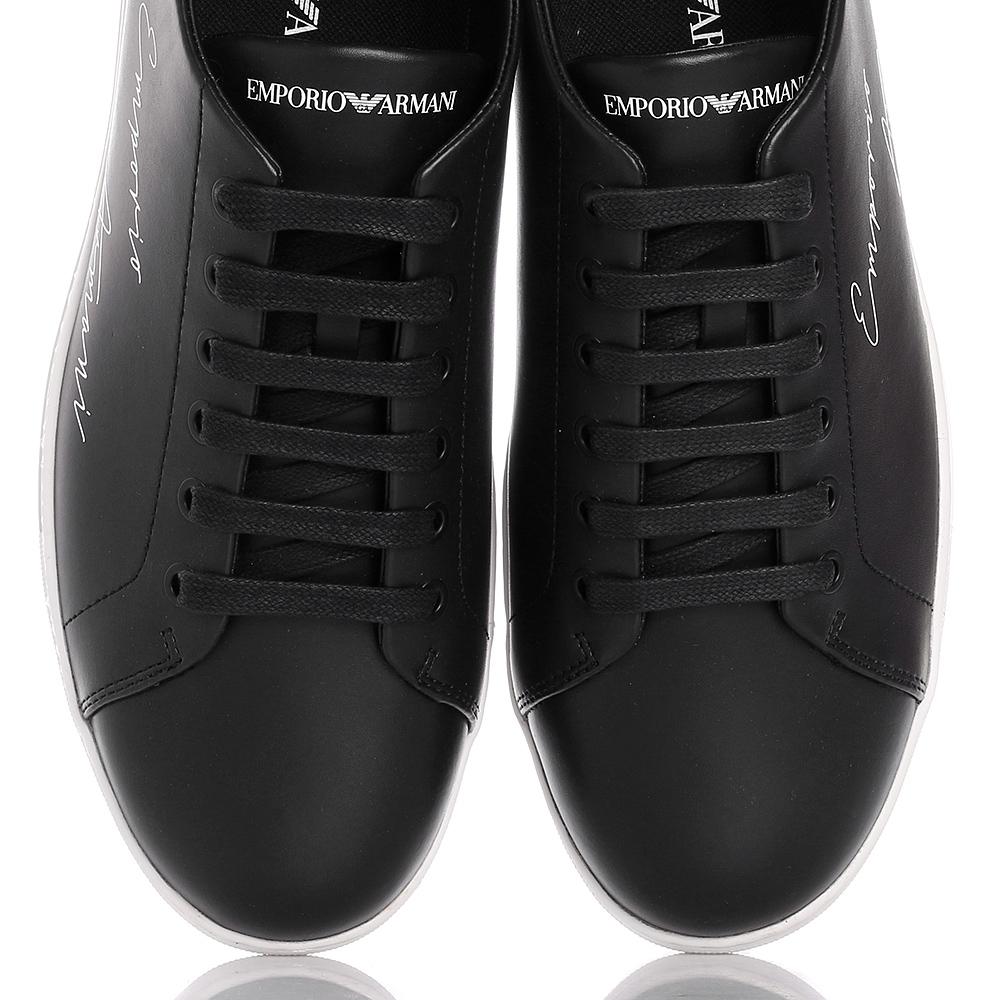 2f994c530cd4 Черные кеды Emporio Armani с брендовой надписью