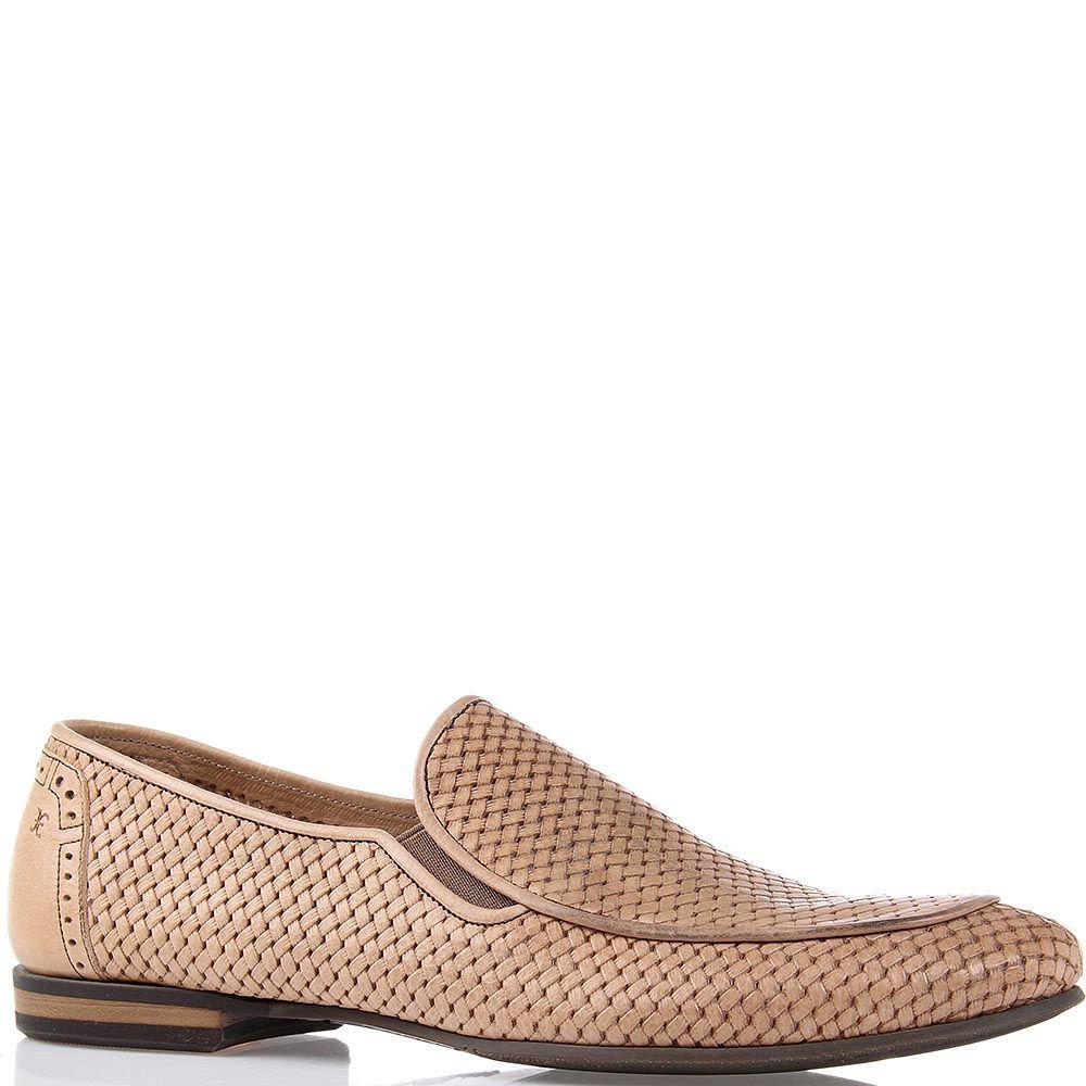 Кожаные туфли FABI бежевого цвета с имитацией переплетения