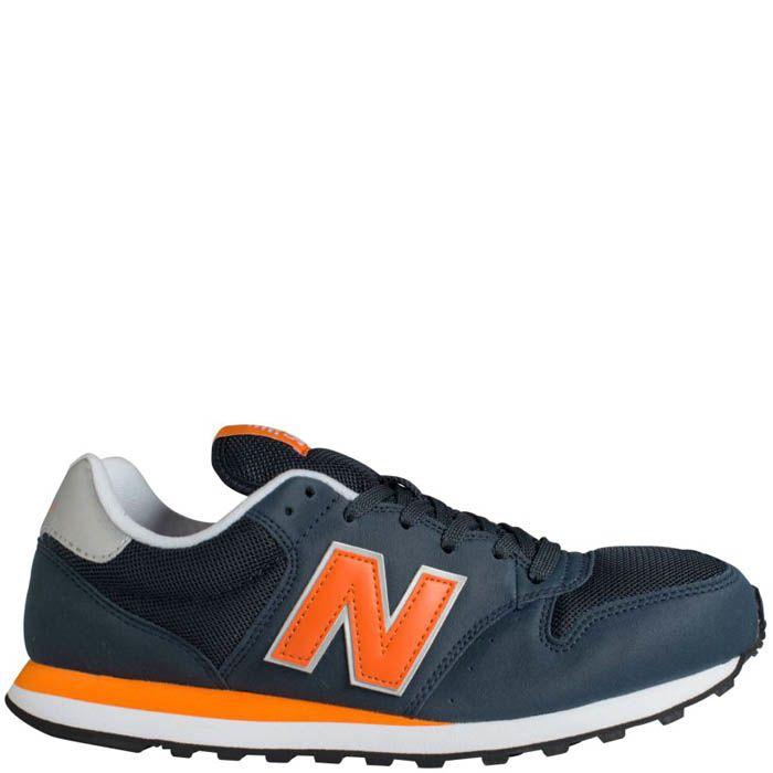 Кроссовки New Balance мужские темно серые с оранжевыми деталями