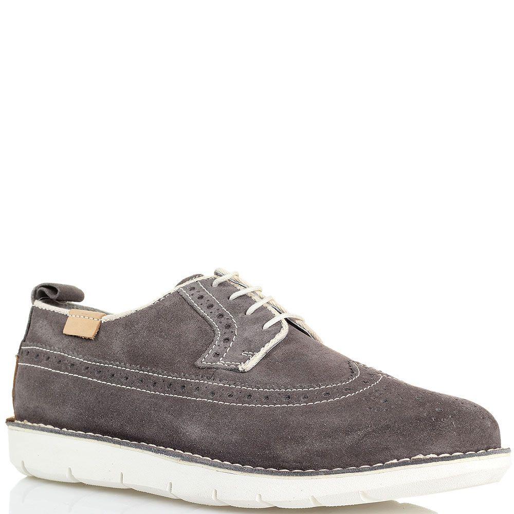 Замшевые туфли-броги с перфорацией серого цвета Halland