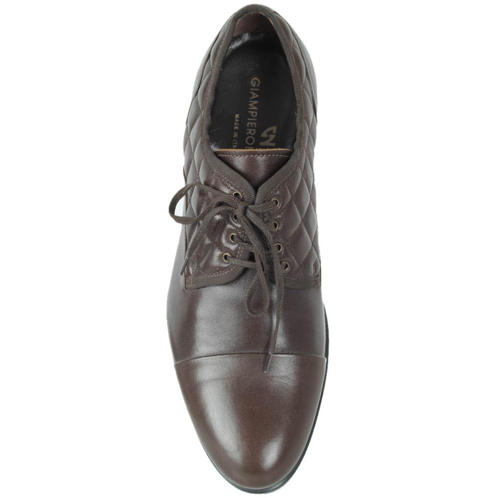 Высокие туфли Giampiero Nicola из натуральной стеганой кожи коричневого цвета