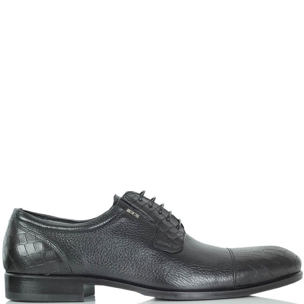 Туфли Giampiero Nicola из крупнозернистой кожи черного цвета