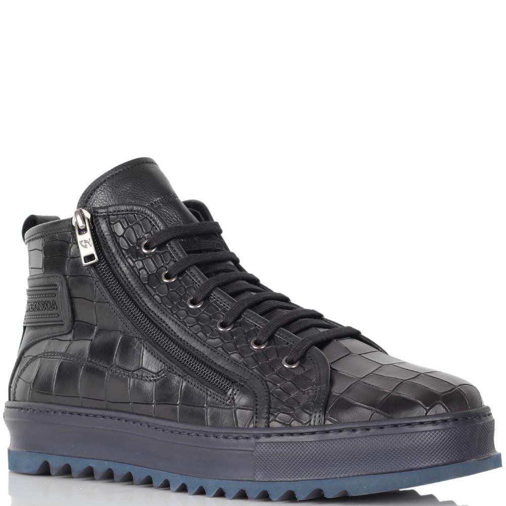 Кожаные ботинки Giampiero Nicola с фактурой кроко на темно-синей подошве