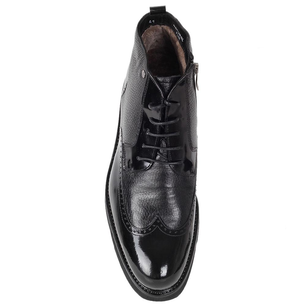 Зимние ботинки-броги Mario Bruni из крупнозернистой кожи с лаковыми вставками