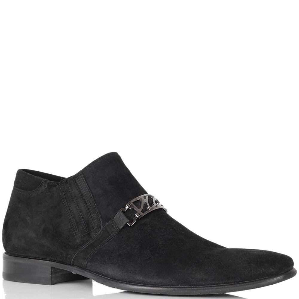 Туфли Mirko Ciccioli из натуральной замши черного цвета с брендовым декором