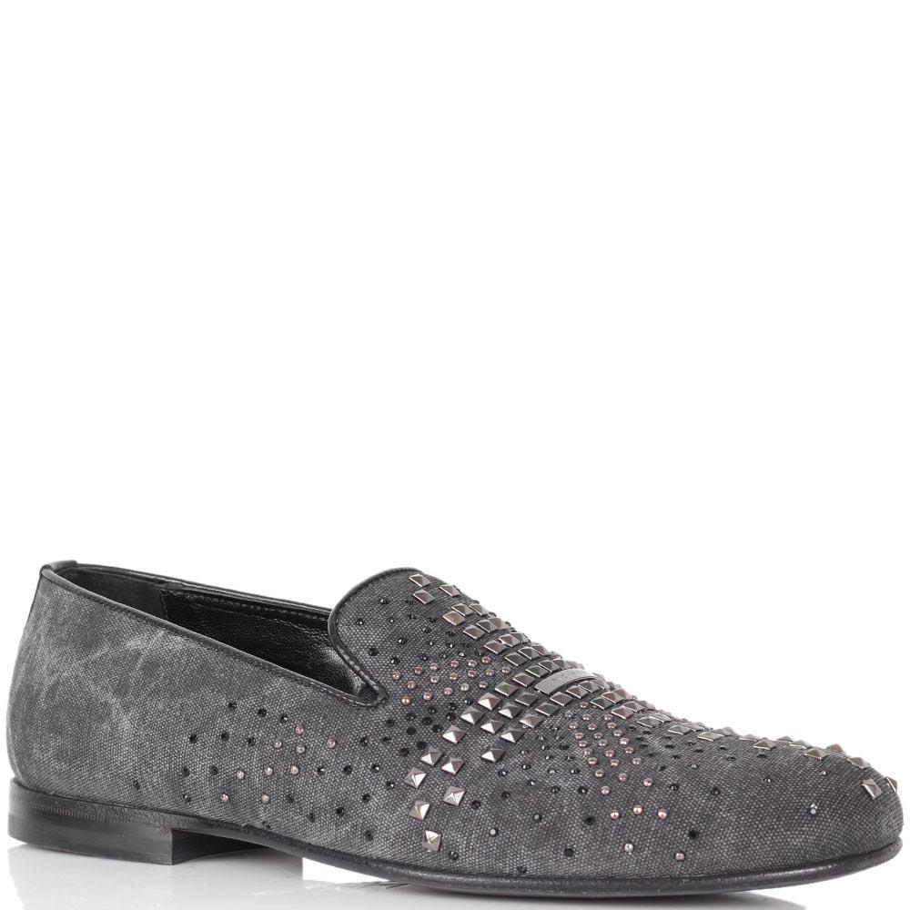 Текстильные туфли Richmond серого цвета с заклепками