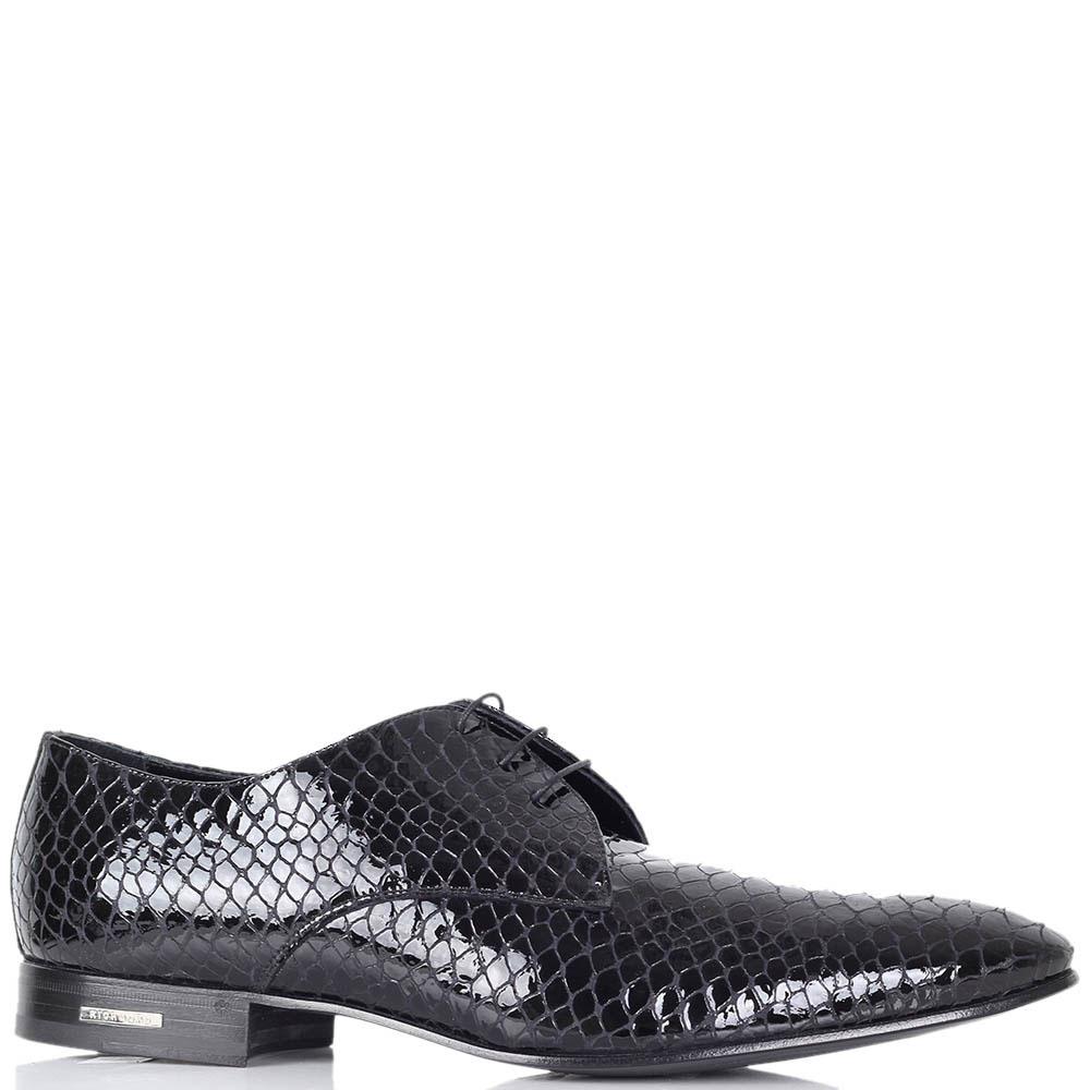Лаковые туфли Richmond черного цвета с тиснением под кожу питона