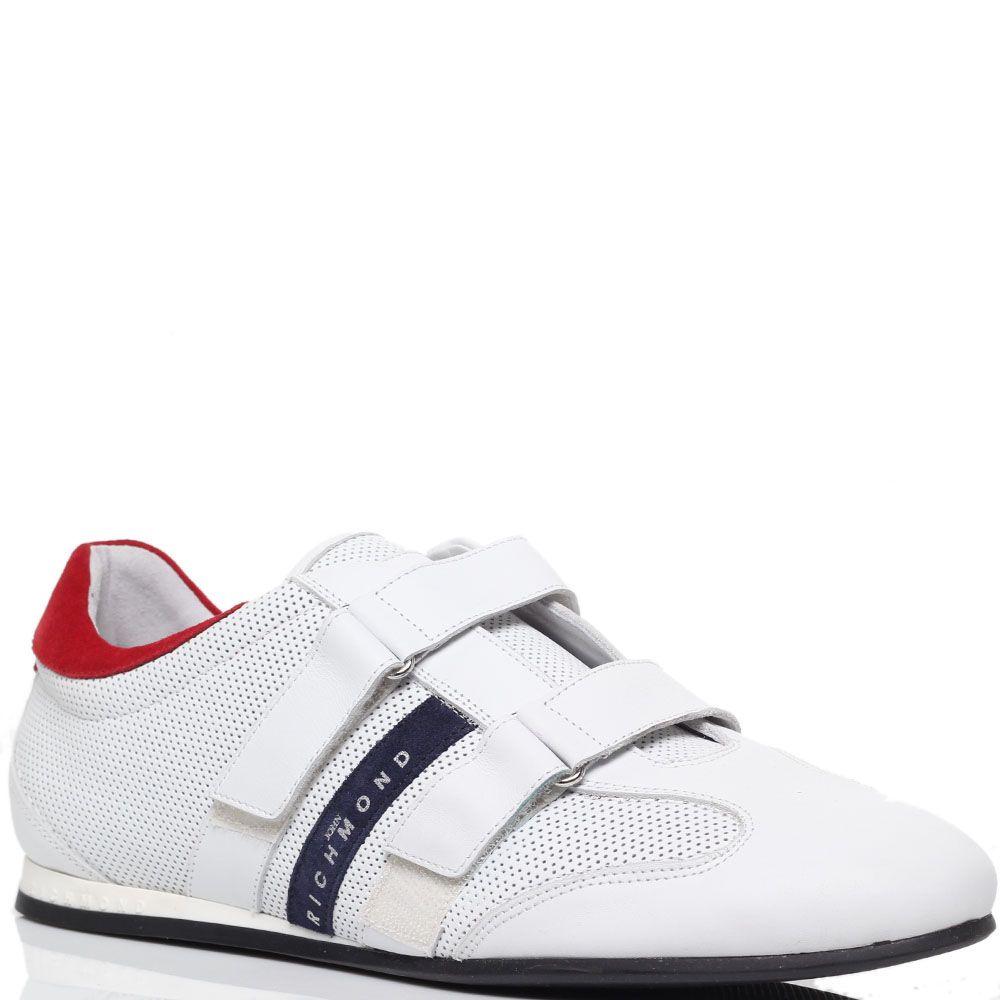 Кожаные кроссовки белого цвета Richmond на липучках